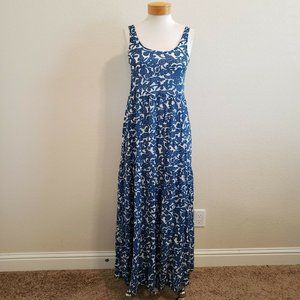 Lucky Brand Blue Vines Cotton Tiered Maxi Dress XS